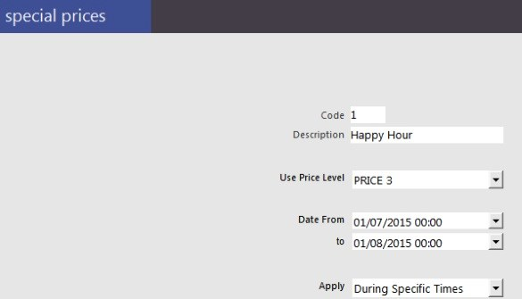 IdealPos happy hour screenshot
