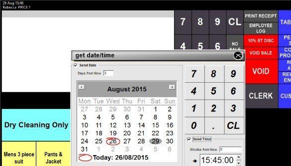 IdealPos pickup date function screenshot