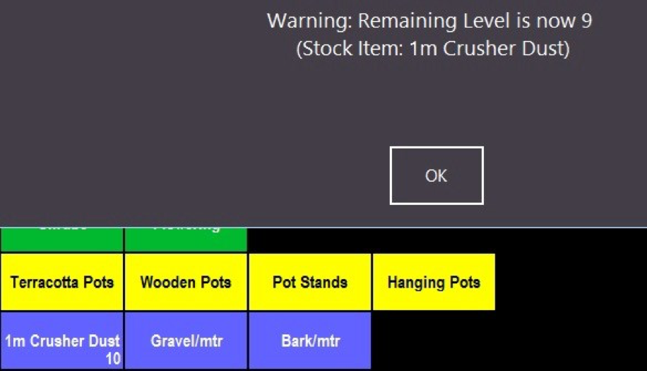 Stock item alert levels screenshot